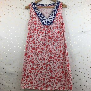 Boden Red And Blue Floral Dress Sz 8R